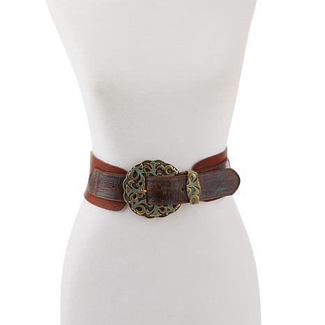 Leatherock Pebbled Leather Ornate Buckle Hip Belt