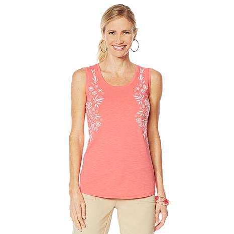 Lemon Way Slub Knit Embroidered Scoop Neck Tank