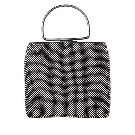 LeRegale Top Handle Metal Mesh Bag with Crystals