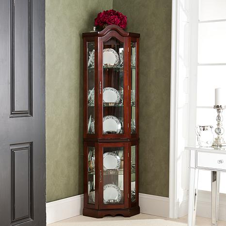 Lighted Corner Curio Cabinet With Mahogany Finish 6221877 Hsn
