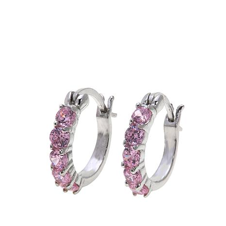 Lily Nily Girl's 1ctw Pink CZ 8mm Sterling Silver Hoop Earrings