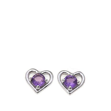 Lily Nily Girl's .24ctw Amethyst Heart Stud Earrings