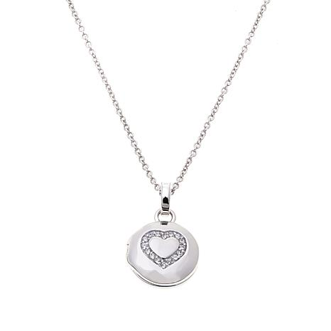 "Lily Nily Girl's CZ-Accent Heart Locket with 13"" Chain Necklace"