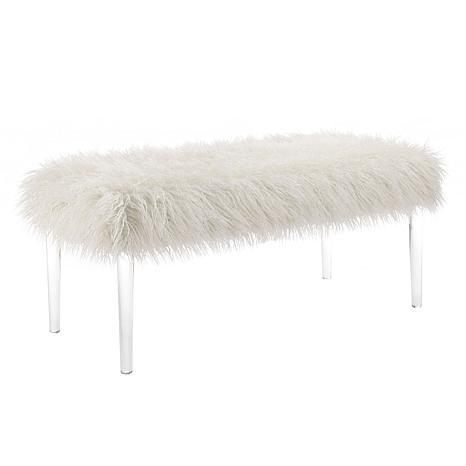 Linon Home Ally Faux Flokati Acrylic Leg Bench - White