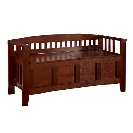 Linon Home Jess Split-Seat Storage Bench - Brown