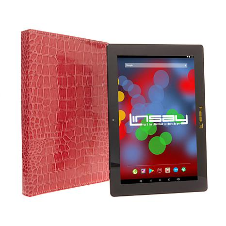 """LINSAY 10.1"""" IPS 16GB Quad-Core Android Tablet Bundle"""