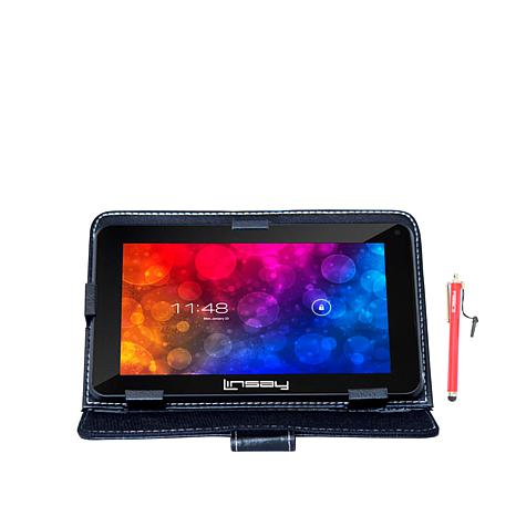 "LINSAY® 7"" Quad-Core Android 8GB Tablet w/Case and Apps"