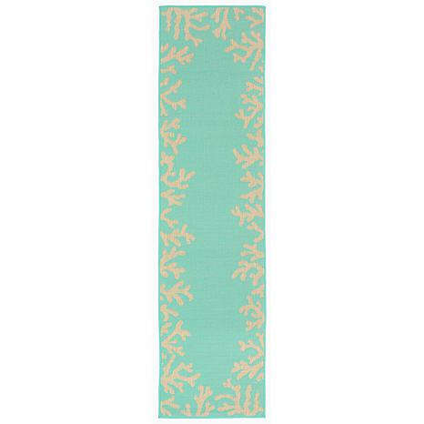 """Liora Manne Coral Border Rug - Turquoise - 23"""" x 7-1/2'"""