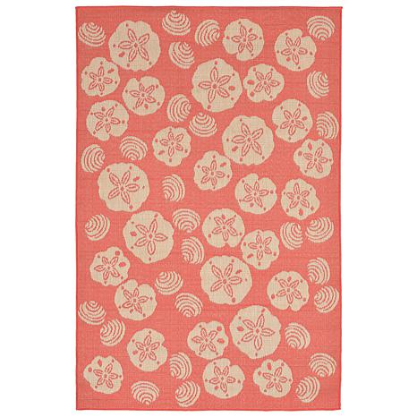 """Liora Manne Shell Toss Rug - Coral - 4'10"""" x 7-1/2'"""