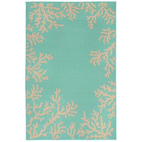 """Liora Manne Terrace Coral Border 39"""" x 59"""" Rug - Turquoise"""