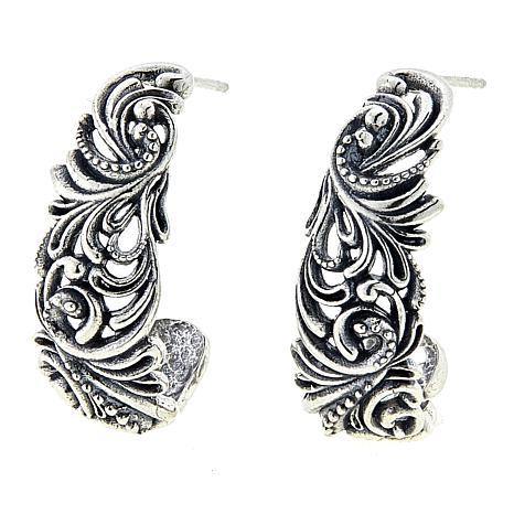 LiPaz Scroll Design Sterling Silver J-Hoop Earrings