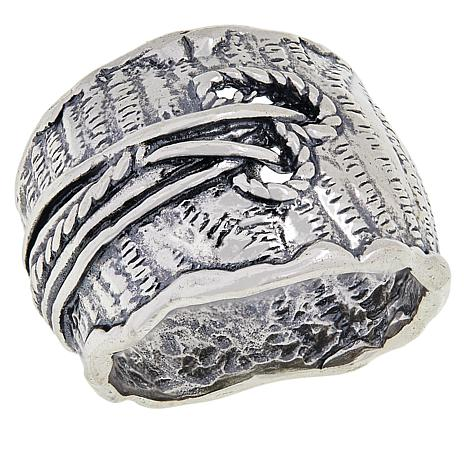 LiPaz Sterling Silver Textured Open Heart Band Ring