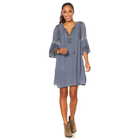 Lucky Brand Embroidered Bell-Sleeve Dress   - Missy