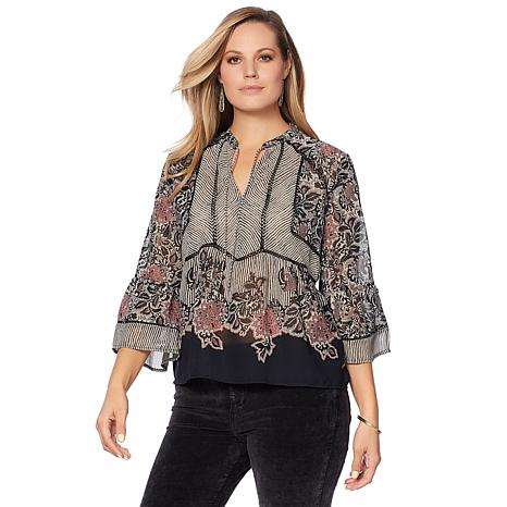 Lucky Brand Mixed-Print Top - Plus