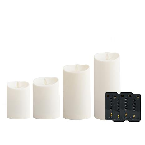 Luminara Set of 4 Outdoor Candles with 4 Remote Controls