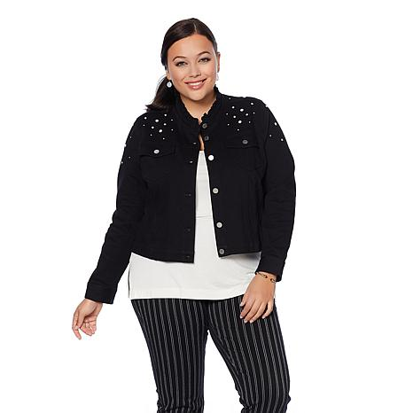 LYSSE Denim Jacket with Simulated Pearls - Plus