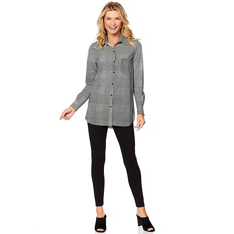 3646e5bc129ff7 LYSSE Shiffer Button Down Top - Missy - 8135478 | HSN
