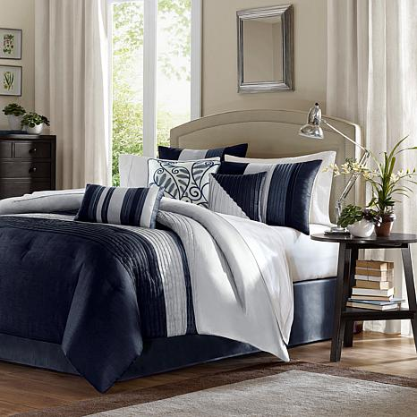 Madison Park Amherst 7-piece Navy Comforter Set - California King