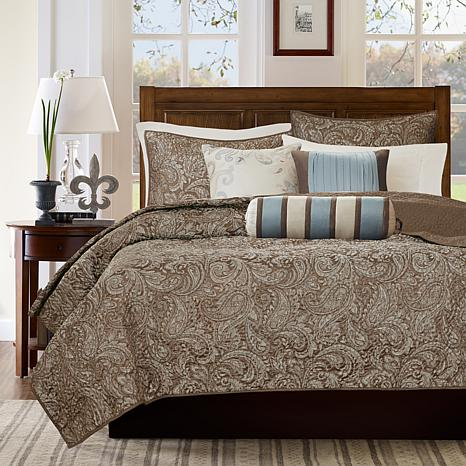 Delightful Madison Park Aubrey Blue 6 Piece Quilted Coverlet Set   Full/Queen