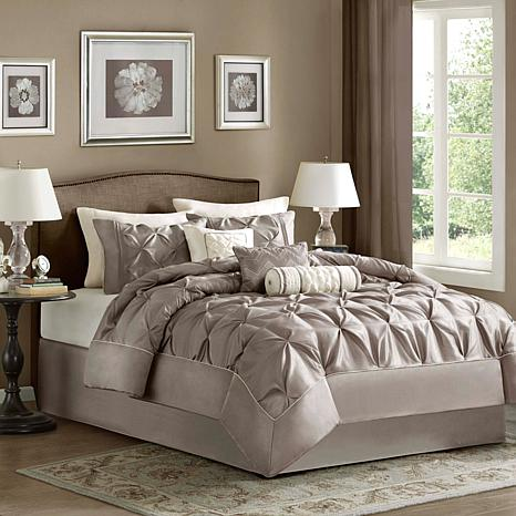 Madison Park Laurel Comforter Set Queen Taupe