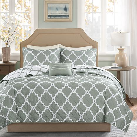 Madison Park Merritt Full/Queen 4pc Coverlet Set - Gray