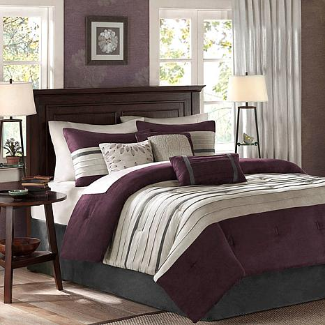 Madison park palmer comforter set california king plum for Plum and cream bedroom designs