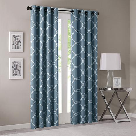 "Madison Park Saratoga Fretwork Curtain - Blue - 50""x84"""