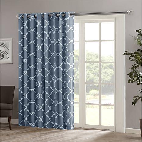 "Madison Park Saratoga Fretwork Patio Curtain-Blue-100""x84"""