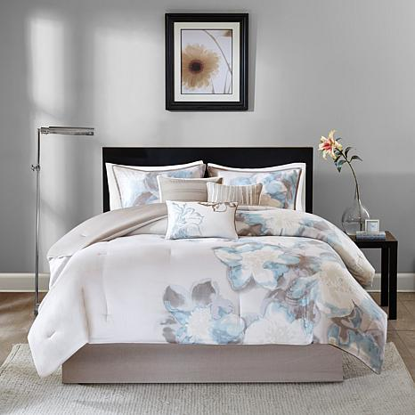 blue comforter sets queen Madison Park Serena 7 piece Blue Comforter Set   Queen   8177352 | HSN blue comforter sets queen