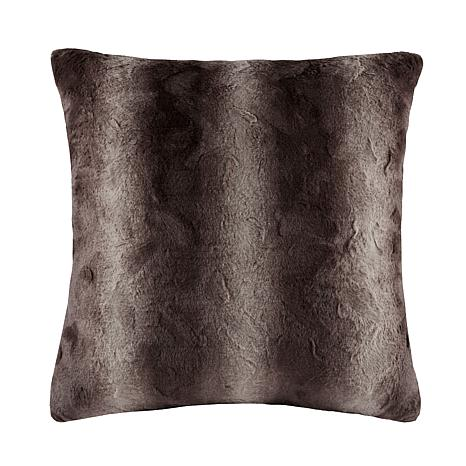 "Madison Park Zuri Faux Fur Euro Pillow 25""x25"" - Chocolate"
