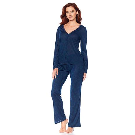 Maidenform Long-Sleeve Lace Trim Pajama Set
