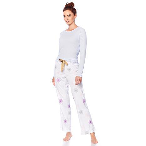 Maidenform Ribbed Top and Fleece Pant Pajama Set