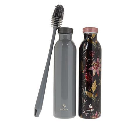 Manna Set of 2 Retro Hydration Bottles with Brush