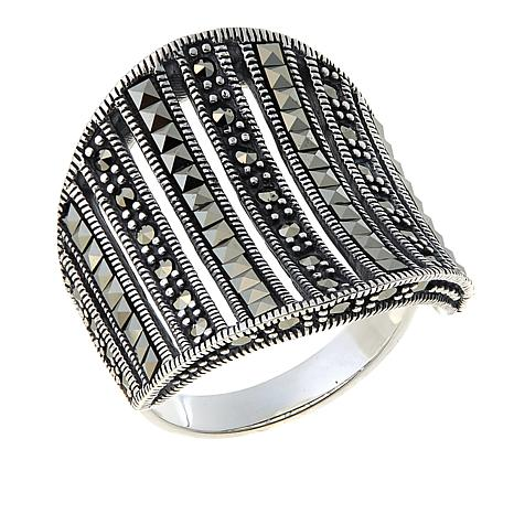 Marcasite 9-Row Vertical-Design Concave Sterling Silver Band Ring