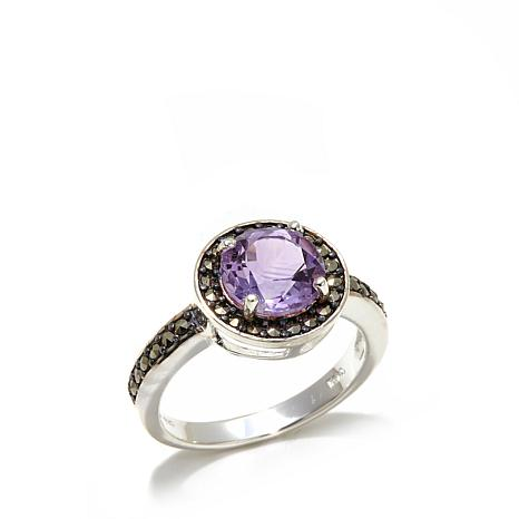Marcasite and Amethyst Round Sterling Silver Ring