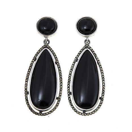 Marcasite and Black Onyx Elongated Sterling Silver Drop Earrings