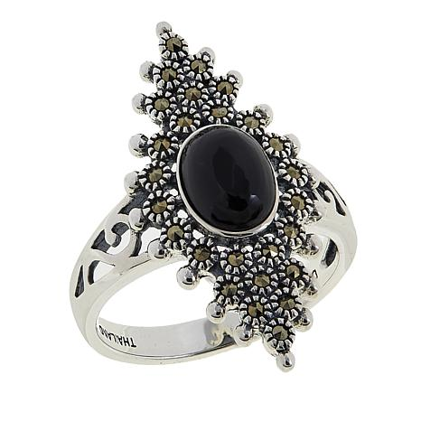 Marcasite and Black Onyx Marquise-Shaped Flower-Design Ring