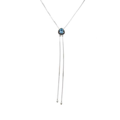 "Marcasite and Blue Topaz Adjustable 30"" Lariat Necklace"