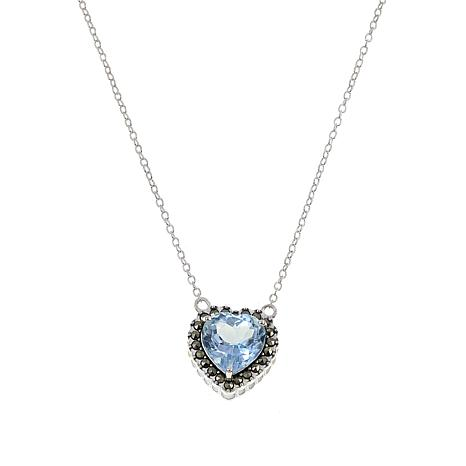 d9a4eac53 Marcasite and Blue Topaz Sterling Silver Heart Drop 18