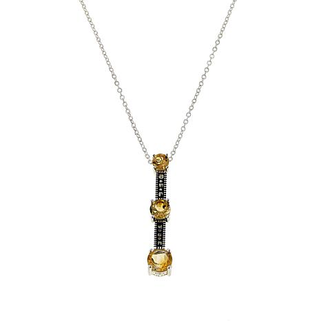 "Marcasite and Citrine 3-Stone Sterling Silver 18"" Drop Necklace"