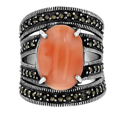 Marcasite and Coral Sterling Silver Wide-Band Ring