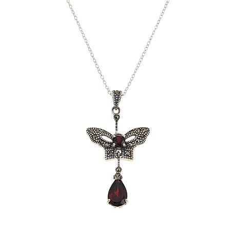 "Marcasite and Garnet Butterfly Dangle Pendant with 18"" Chain"