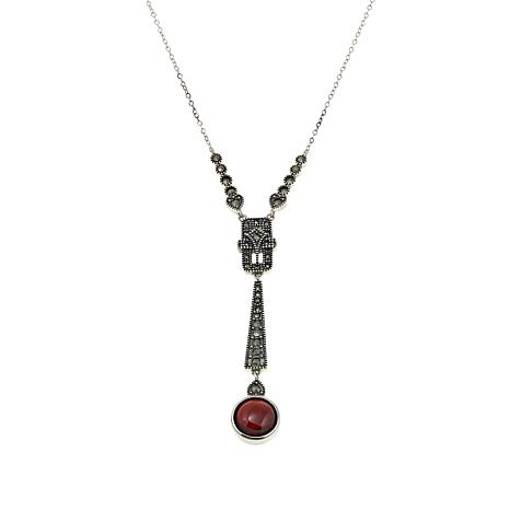 "Marcasite and Garnet Deco-Inspired Y-Shape 18"" Necklace"