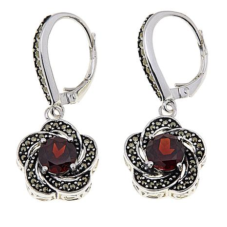 Marcasite and Garnet Sterling Silver Flower Drop Earrings