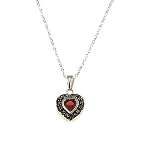 "Marcasite & Garnet Sterling Silver Heart Pendant with 18"" Chain"