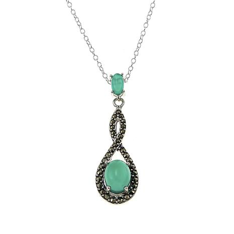 """Marcasite and Green Agate Infinity Pendant Drop 18"""" Necklace"""