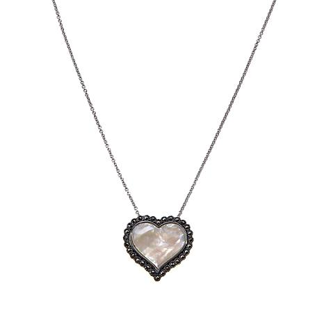 Marcasite and Mother-of-Pearl Heart Pendant with Chain