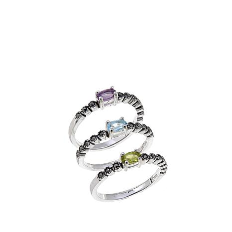 Marcasite & Oval Gem Set of 3 Sterling Stackable Rings