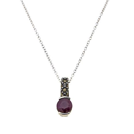 Marcasite and Ruby Sterling Pendant with Chain - July