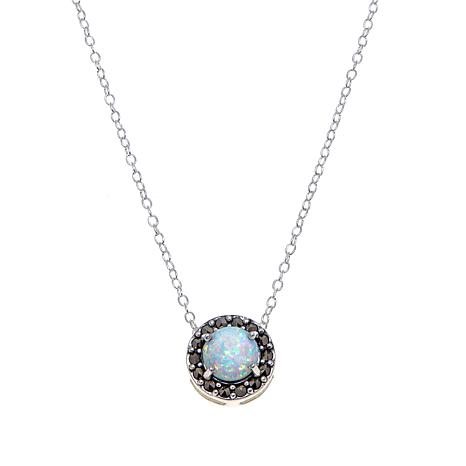 "Marcasite and Synthetic Opal Circle Drop 13"" Choker"